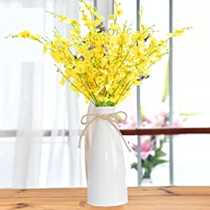 HEJIAYI Artificial Orchid Silk Fake Flowers with Vase,10 Pcs Fake Dancing Lady Orchid Flowers and Vase 22