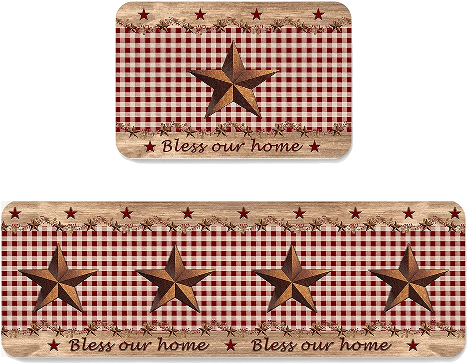 Western Texas Limited price sale Star Bless Popularity our Home Barn Plaid Buffalo Rustic Red