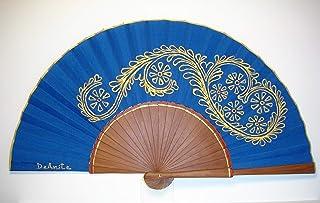 """Ventaglio Spagnolo/Ventaglio dipinto a mano/Ventaglio flamenco/Ventaglio di legno""""Ricamato in blu"""""""