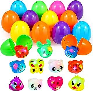 Acekid Easter Eggs Filled with Light Up Rings, 28pcs Kids Cartoon LED Jelly Rings Set, Easter Theme Party Favor, Easter Eg...
