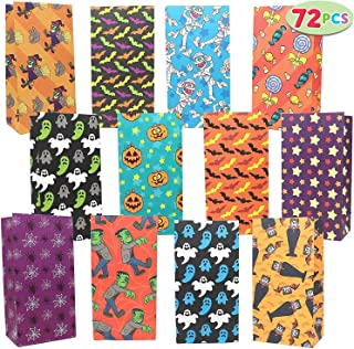 JOYIN 72 Pack of Halloween Bags; 12 Assorted Designs Paper Treat Bags for Classroom Treat Bags Halloween Party Favors Give...