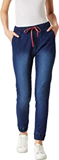 Miss Chase Women's Navy Blue Stretchable Denim Jogger Pants