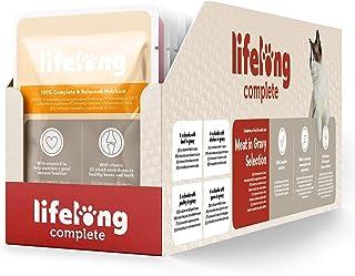 Marca Amazon - Lifelong Alimento completo para gatos adultos - Selección de carne en salsa, 2,4 kg (24 bolsitas x 100g)