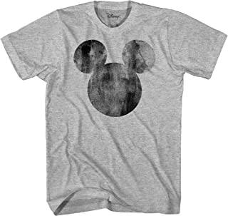 Disney Mickey Mouse Distressed Head Vintage Silhouette Men's Adult Graphic Tee T-Shirt