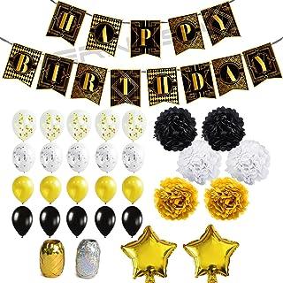 41611949dc977 WERNNSAI Geburtstag Dekorationen Set Happy Birthday Banner Girlande  Konfetti Ballon Luftballons Bänder Papierblumen Pompons Stern Folienballons