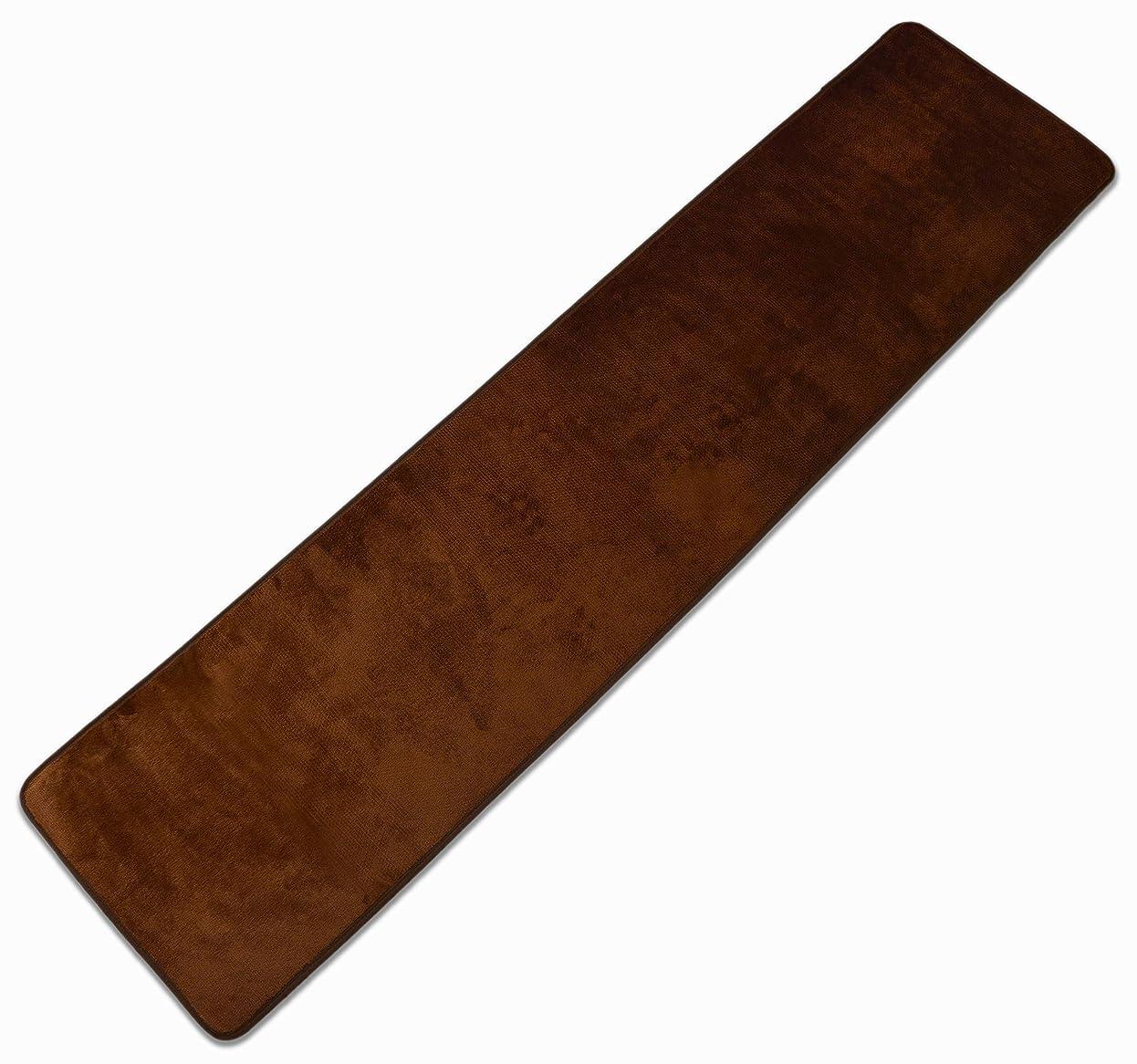 しなやか下手膨張するLeyoyo キッチンマット きっちんまっと フランネル 滑り止め付 洗える 抗菌 無地(45×180cm, ブラウン)