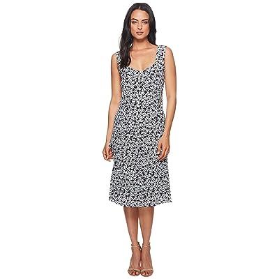 Nicole Miller Asymmetrical Pleated Dress (Black/White) Women