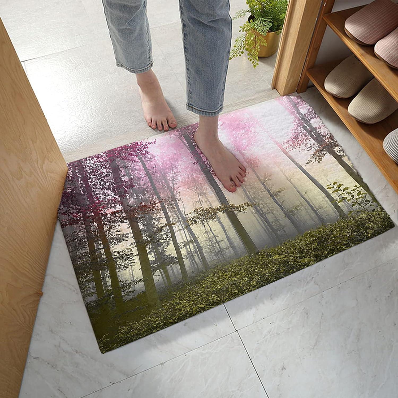 LBHAUSE Bathroom Quality inspection Rugs Soft Plush Elegant Fallen Forest Autumn Bath Mat