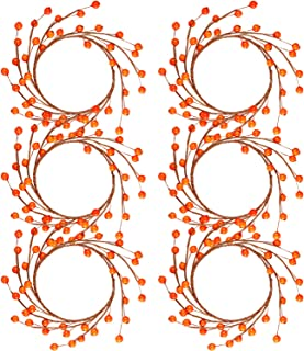 WILLBOND 6 Packs Christmas Candle Rings Wreaths Mini Fall Berry Twig Wreath Candle Wreath Farmhouse Candle Wreaths Rings for Table Centerpiece Decoration (Orange Berry)