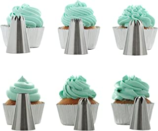 BeBeFun 304 Stainless Steel Extra-Large/Jumbo Classical Cup Cake Piping Icing Decoration Tips Set. 4 Jumbo Size + 2 Large Size In Set.