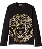 Versace Kids - Long Sleeve T-Shirt with Large Medusa Logo (Big Kids)
