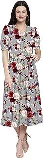 RADANYA Women's Floral Print Casual Flared Short Sleeve Midi Dress with Belt