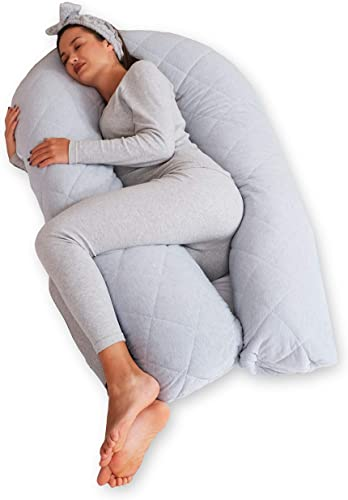 new arrival BODY high quality NEST Cooling Pregnancy Pillow. U-Shape Full Body Pillow with Reversible Zippered Jersey Cotton Cover Gray. 2-in-1 Cover with Minky Soft Winter lowest Side + Cooling Cotton Summer Side outlet online sale