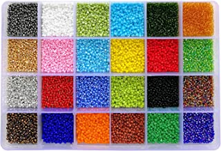 BALABEAD 24000pcs in Box 24 Multicolor Assortment 12/0 Glass Seed Beads 2mm Craft Seed Beads, Hole 0.6-0.8mm (1000pcs/Color, 24 Colors)