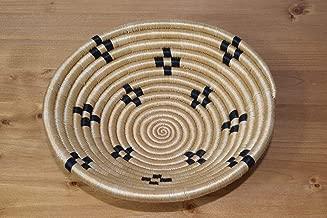 Small Hand Woven African Basket - 8 Inches Sweetgrass Basket - Handmade in Rwanda - Tan, Black, SRB162