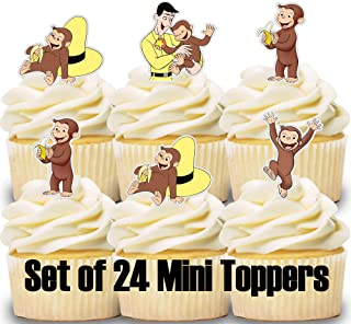24 Mini Cupcake Toppers Curious George/Birthday Party/Cake Decorations