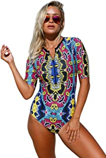 Womens Zip Front Printed Half Sleeve/Long Sleeve One Piece Swimsuit Swimwear