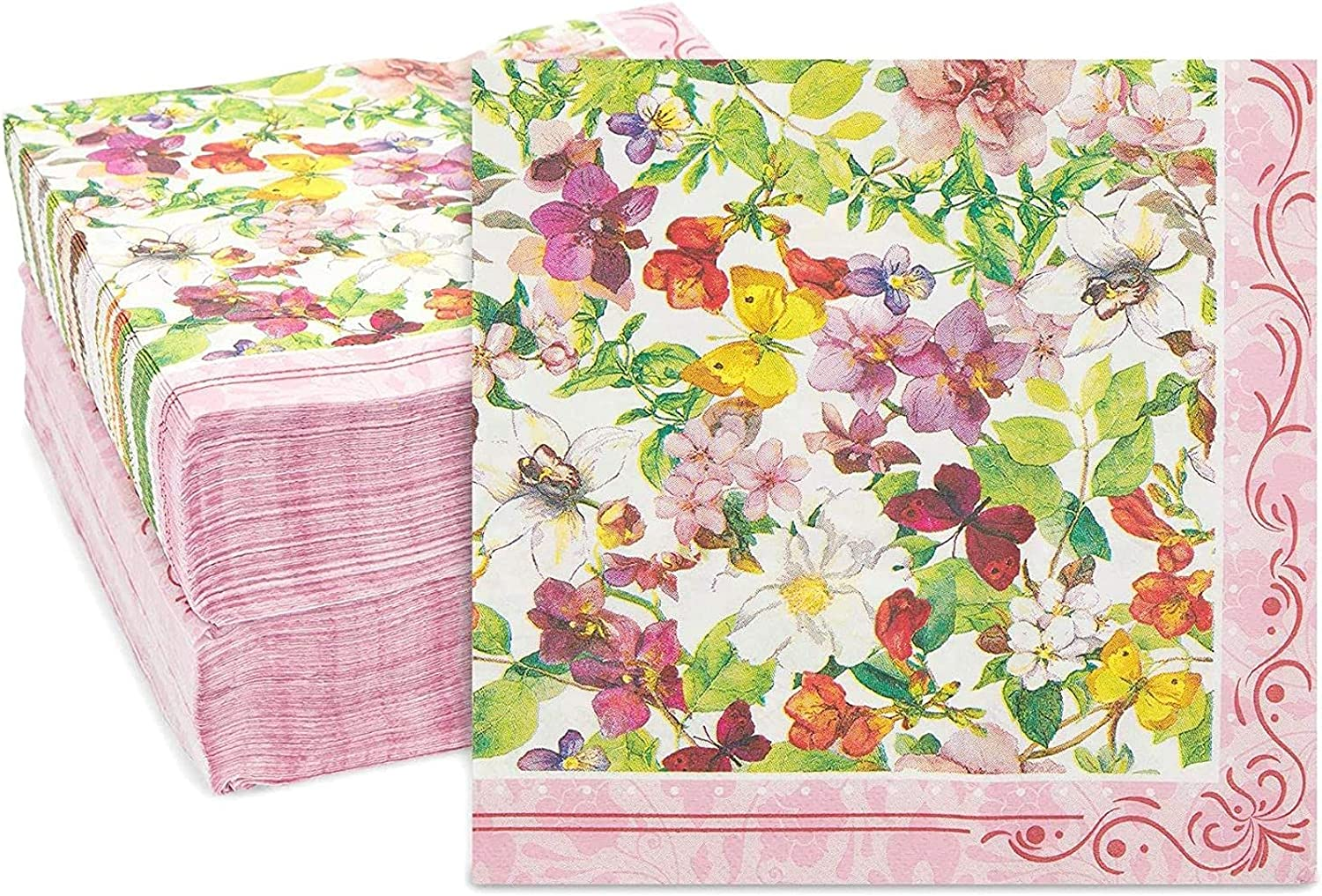 Popular products Vintage Long-awaited Floral Paper Napkins Watercolor x In 6.5 Blossoms