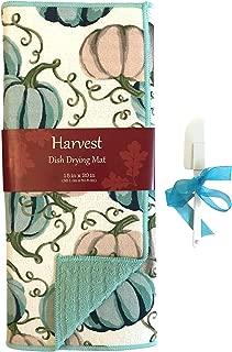 Autumn Harvest Blue and White Pumpkins Dish Drying Mat: Fall Seasonal Home Decor (Dish Drying Mat, 2pc)