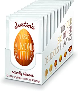 Justin's Classic Almond Butter Squeeze Packs, Only Two Ingredients, Gluten-free, Non-GMO, Keto-friendly Responsibly Sourced, Pack of 10 (1.15oz each)