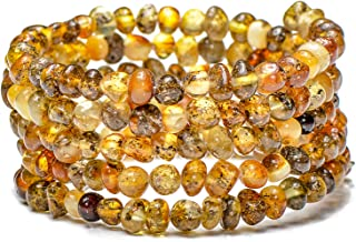 Genuine Baltic Amber Bracelet for Women - Made on Memory Wire - Handmade Natural Amber Beads Jewelry for Adult