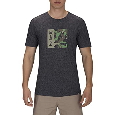 Hurley One Only Camo Box Short Sleeve Tee (Black Heather) Men