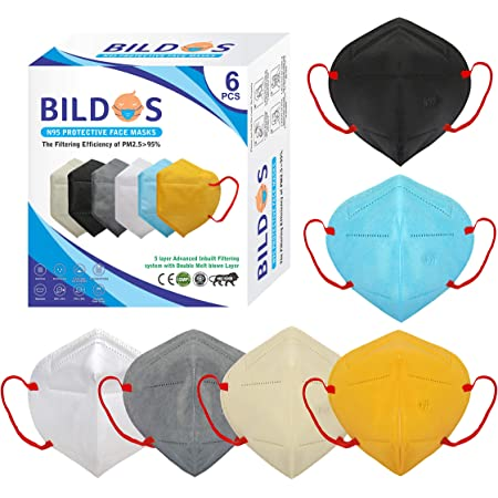 Bildos Melt Blown Fabric Reuseable N95 Mask (Multicolor, Without Valve, Pack of 6) for Unisex