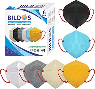 Bildos Melt Blown Fabric 5 Layer Reusable Washable N95 Mask For Men & Women (Multi colour, Without Valve, Pack of 6)