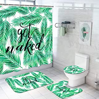 TAMOC 4 Pcs Palm Leaves Shower Curtain Set with Non-Slip Rug, Toilet Lid Cover and Bath Mat, Get Naked Shower Curtain with 12 Hooks, Tropical Green Leaves Bathroom Curtain with Funny Quotes