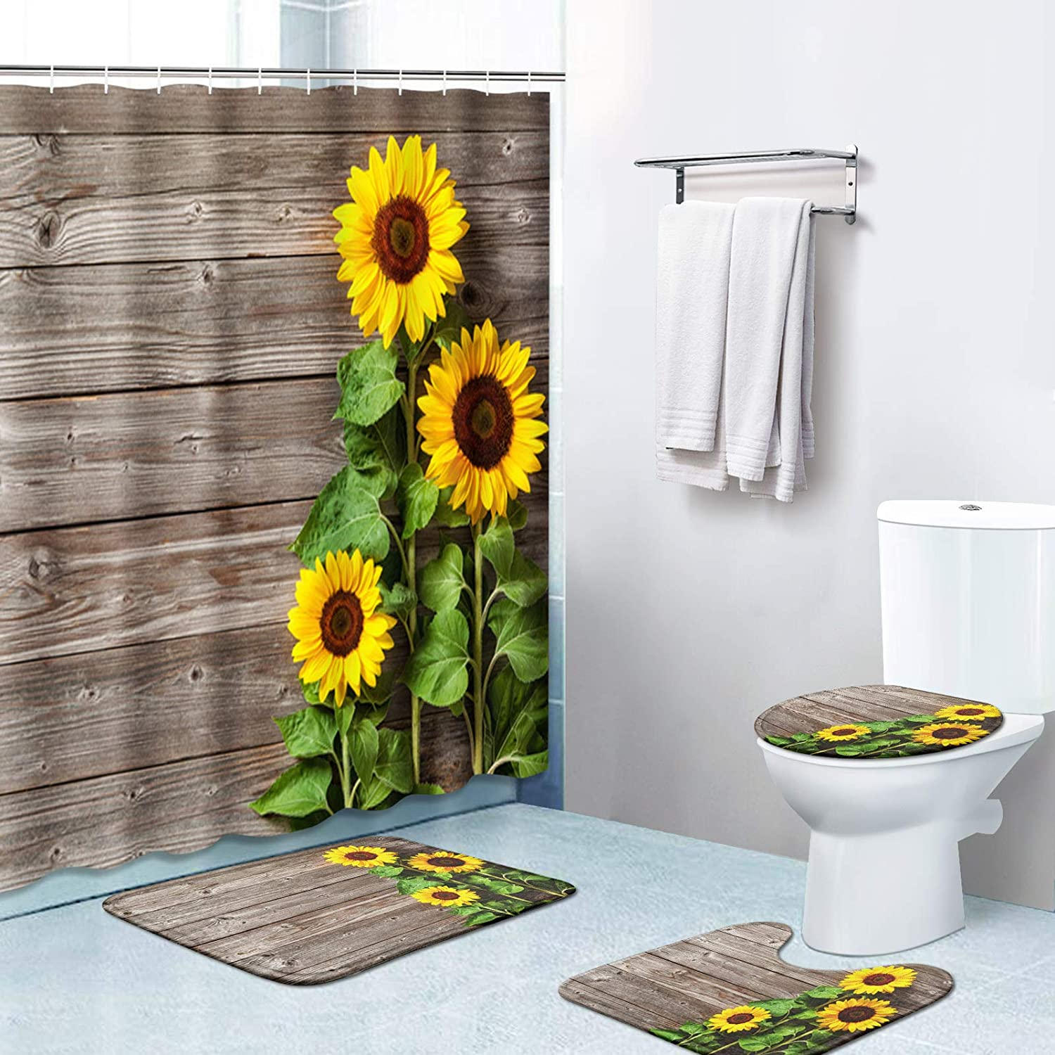 Britimes 4 Free shipping New Piece Shower Curtain Hooks Sets Sunflowers Sales of SALE items from new works 12 with