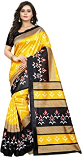 Jaanvi fashion Women's Art Silk Ikkat Patola Print SareeWith Unstitched Blouse