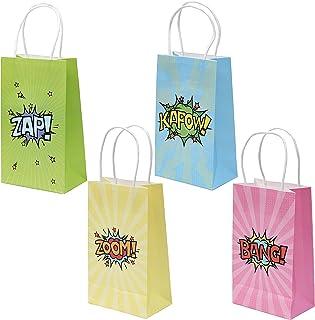BELLE VOUS Bolsas Superhéroes Bolsas de Papel para Regalos (24 Piezas) - (15,6 x 8 x 21,5 cm) 4 Diseños Bolsas Fiestas Verde, Azul, Rosa, Amarillo Bolsa Papel con Asa Cumpleaños Regalo