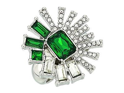 Vince Camuto Drama Ring (Rhodium/Crystal/Dark Moss Green) Ring