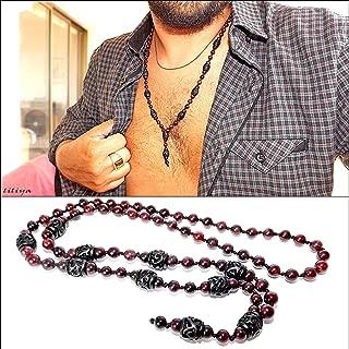 mens garnet necklace