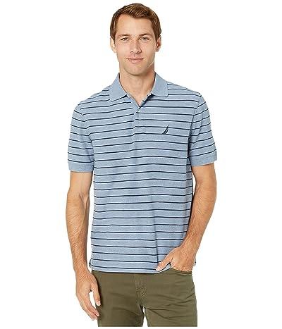Nautica Striped Deck Polo Shirt (Deep Blue Heather) Men