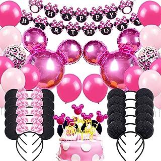 Danirora Minnie Mouse Birthday Party Supplies, Minnie Mouse Party Decorations for Girls Birthday Decor Pink Balloon Banner...