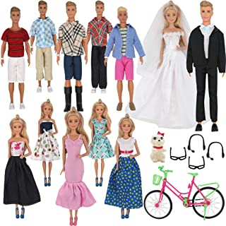 ZTWEDEN 33Pcs Doll Clothes and Accessories for for Ken Doll and Barbie Doll Includes 20 Wear Clothes Shirt Jeans Suit and Wedding Dresses, Glasses Earphones Dog and Bike for 12