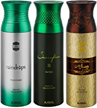 Ajmal Raindrops & Sacrifice II & Wisal Dahab Deodorant Spray For Men & Women 200ml each (Pack of 3, 600ml) + 3 Parfum Test...