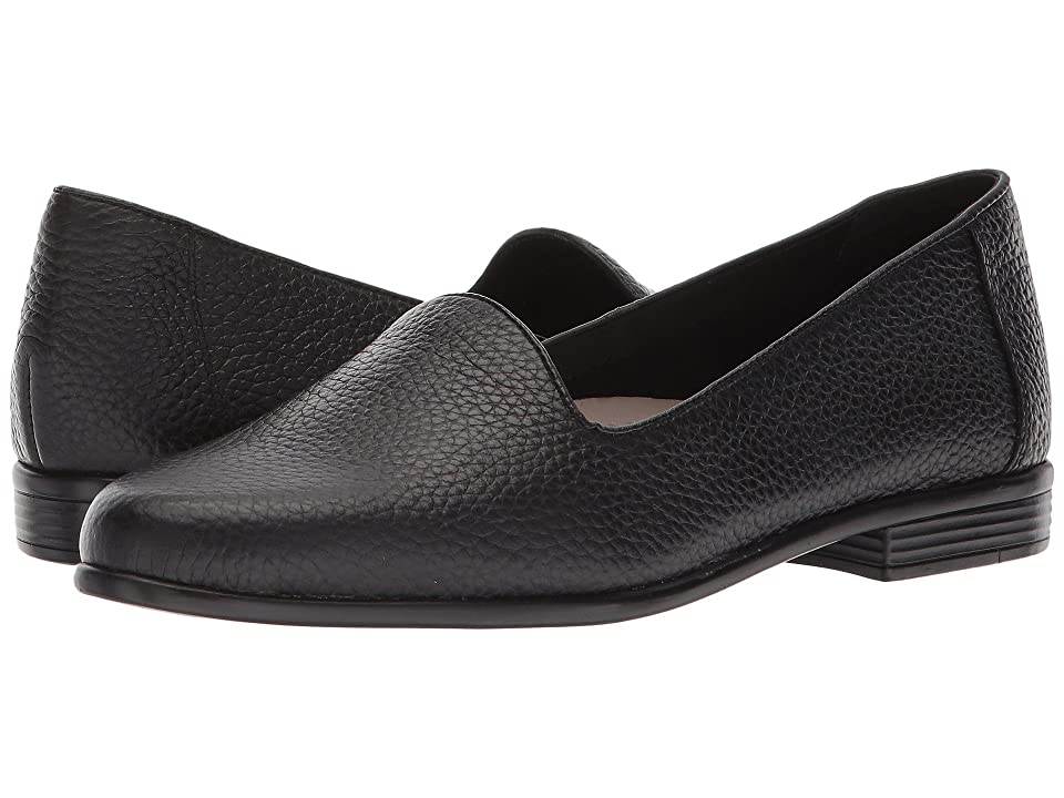 Retro Vintage Flats and Low Heel Shoes Trotters - Liz Tumbled Black Very Soft Leather Womens Slip on  Shoes $94.95 AT vintagedancer.com