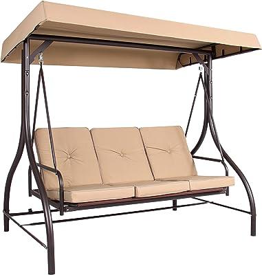 Amazon Com Mainstay 3 Seat Porch Patio Swing 3 Porch Swing Tan