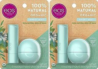 eos USDA Organic Lip Balm - Sweet Mint | Lip Care to Nourish Dry Lips | 100% Natural and Gluten Free | Long Lasting Hydrat...