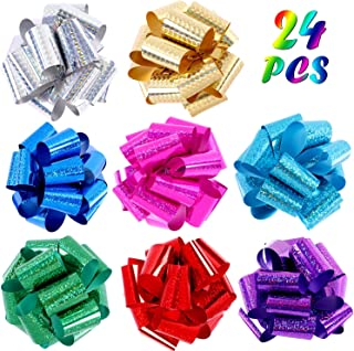 G.C 24 Pcs 5 Inches Wide Christmas Glittering Pull Bows Gift Wrapping Ribbon Bows 8 Colors Laser Wrap Hamper Wrapping Loop Bows for Christmas Weddings Birthday Party Bows for Gift Decorations