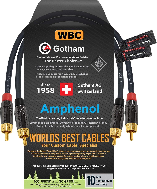 Regular dealer Ranking TOP6 0.5 Foot RCA Cable Pair - Black Gotham Star-Quad GAC-4 1 Audio