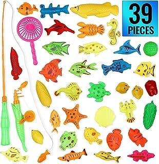 THE TWIDDLERS 39 Pcs Juego de Pesca Magnética - Piscina y Baño Juguetes para Niños