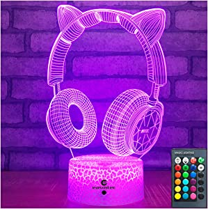 Easuntec Teen Girl Gifts Headphone LightwithRemote & Smart Touch 7 Colors+ 16 Colors Dimmable Teen Girl Stuff6 7 8 9 10 11 12 13 Year Old Girl Gifts(HP 16WT)