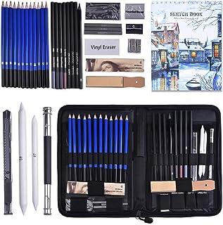 Set Crayon Dessin et Croquis,41PCS Professionnel Crayons Dessin et Papier à Dessin(50 Pages),Esquisse Crayons Set avec Gra...