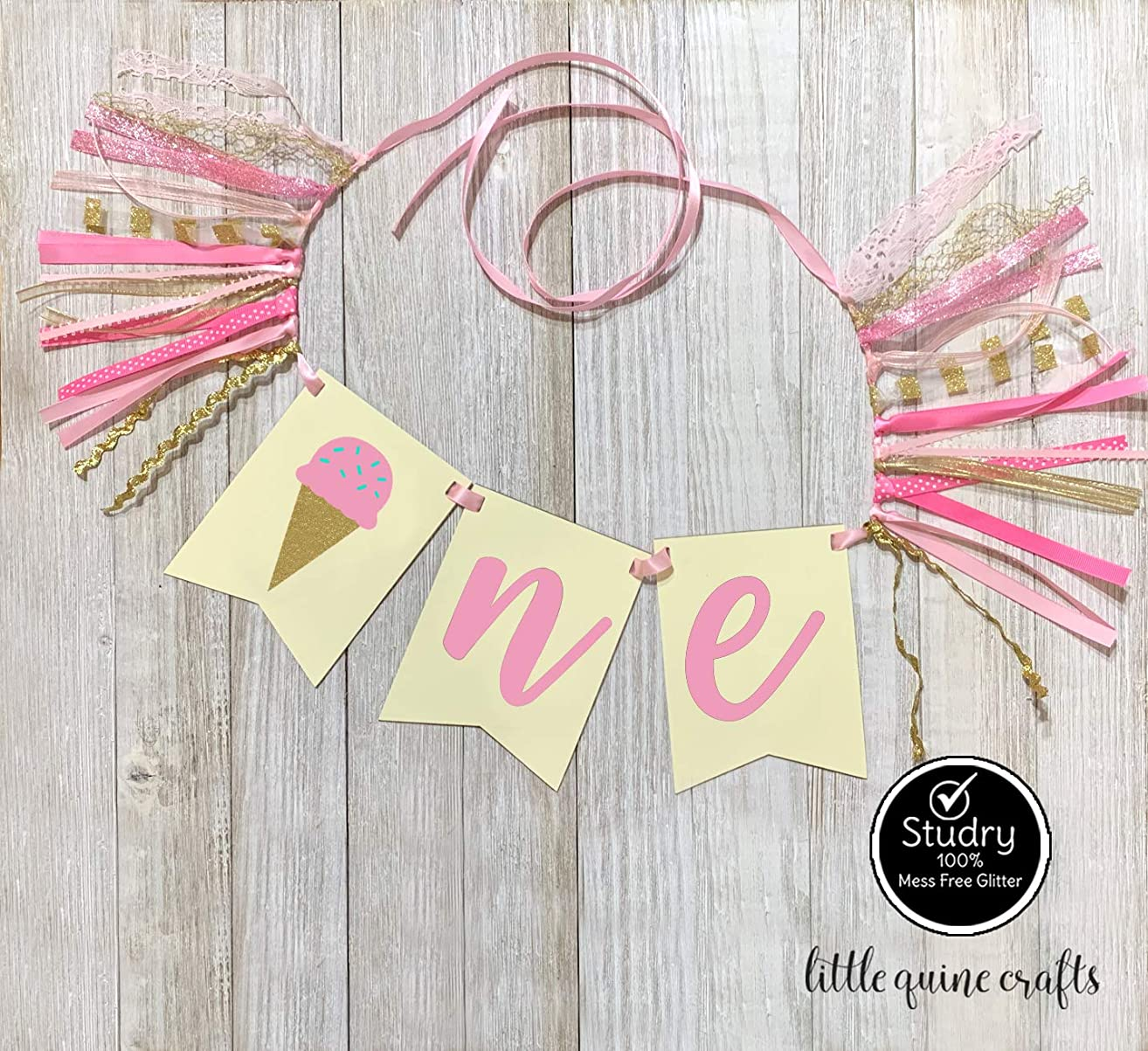 1 pc ONE ice cream rag tie High Chair Banner cake smash Party Photo prop summer Decoration First Birthday Pink blue Gold