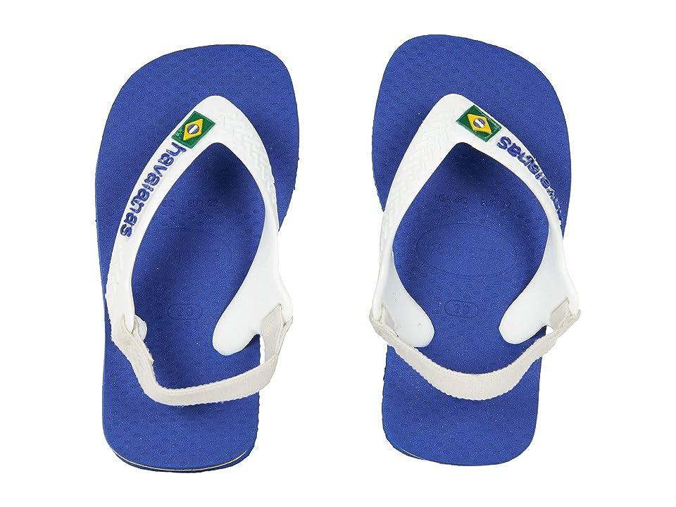 Havaianas Kids Baby Brazil Logo Flip-Flop (Toddler) (Marine Blue) Boys Shoes