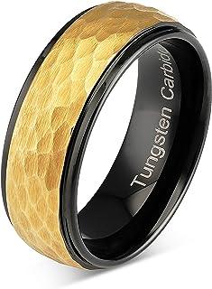 خاتم من التنجستين 100S مجوهرات للرجال خاتم زفاف بدرجتين من الذهب الأسود المطرقة مقاس 6-16