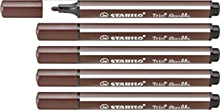 Rotulador escolar ergonómico triangular con sistema de amortiguación en la punta STABILO Trio Scribbi - Caja con 5 unidades - Color marrón claro